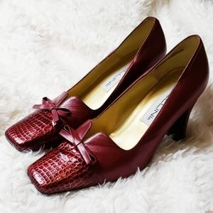 Bellini : Red Leather Snake Toe Spool Heels